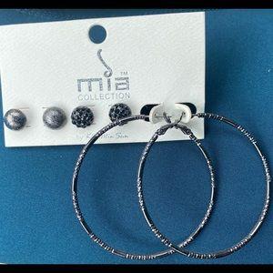 Set of 3 Dark Grey Earrings 1 Large Hoop & 2 studs